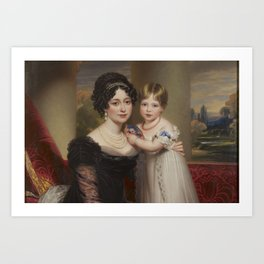 Duchess of Kent and Victoria by Henry Bone  Art Print