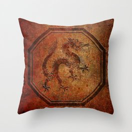 Distressed Chinese Dragon In Octagon Frame Throw Pillow