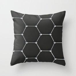 Graphene atomic structure on black Throw Pillow