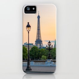 Eiffel tower and lamppost with orange sky iPhone Case
