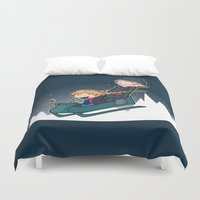 hobbes Duvet Covers featuring A Snowy Ride by Perdita