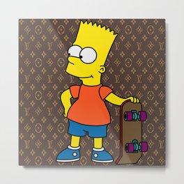 Bart Simpson skateboarding x louisvuitton brown Metal Print
