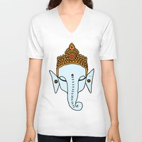 ganesha V-neck T-shirts featuring Ganesha by RaJess