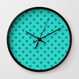 Teal on Turquoise Stars Wall Clock