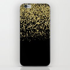 Sparkling gold glitter confetti on black backround- Luxury pattern iPhone & iPod Skin