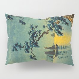 Tsuchiya Koitsu Maiko Seashore Japanese Woodblock Print Night Time Moon Over Ocean Sailboat Pillow Sham