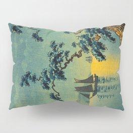 Tsuchiya Koitsu Maiko Seashore Japanese Woodblock Print Night Time Moon Over Ocean Sailboat Pillow Sham