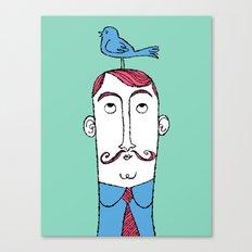 Birdie on Top (Teal) Canvas Print