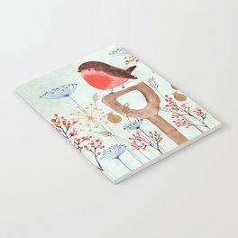 Robin in a Winter Garden Notebook