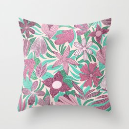 Pastel Pink Green Floral Leaves Glitter Pattern Throw Pillow