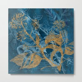 Teal Garden In Autumn Metal Print