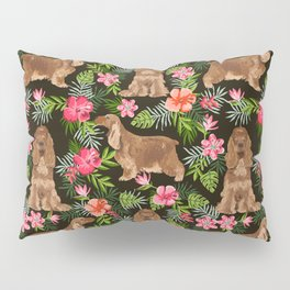 Cocker Spaniel hawaiian tropical print with dog breeds cocker spaniels Pillow Sham