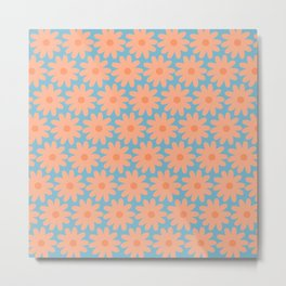Crayon Flowers 2 Cheerful Smudgy Floral Pattern in Apricot and Light Blue Metal Print