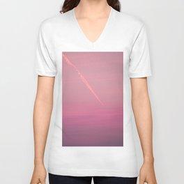 Pink sunset sky (line) Unisex V-Neck