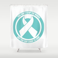 Ride the Waves - Cancer Ribbon Shower Curtain