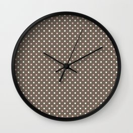 Pink and brown small polka dots Wall Clock