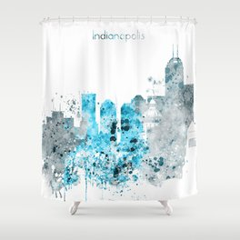 Indianapolis Monochrome Blue Skyline Shower Curtain