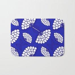 African Floral Motif on Royal Blue Bath Mat
