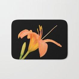 daylily on black Bath Mat