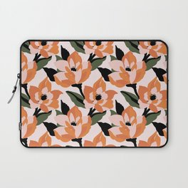 Bold orange poppy on a soft pink base Laptop Sleeve