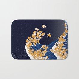 Shiba Inu The Great Wave in Night Bath Mat