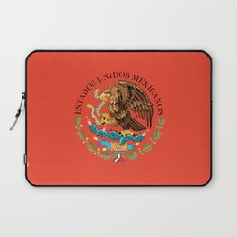 Close up of the Seal from the flag of Mexico on Adobe red background Laptop Sleeve