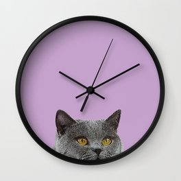 Lavender Home Decor Lilac Decoration British Short haired Cat Bag Pastel Colors Wall Clock