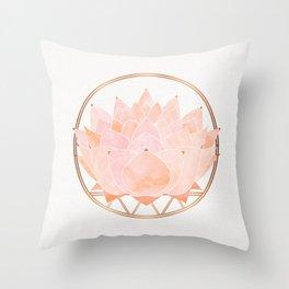 Blush Zen Lotus ~ Metallic Accents Throw Pillow