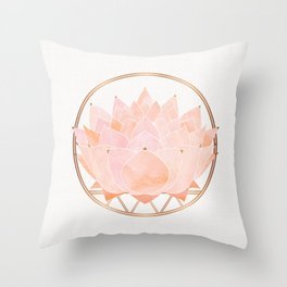 Blush Zen Lotus ~ Metallic Accents Throw Pillow