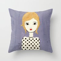 polka dots Throw Pillows featuring Polka Dots by christennoelle