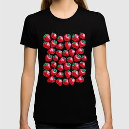 Red Strawberry pattern on black Illustration T-shirt