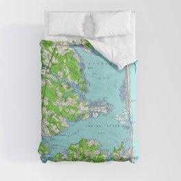 Vintage Rehoboth & Bethany Beach DE Map (1938) Comforters