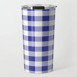 Blue and White Buffalo Plaid Travel Mug
