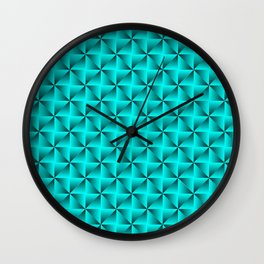 Mystical iridescent light blue squares and black triangles with volume. Wall Clock