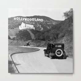 Old Hollywood sign Hollywoodland black and white photograph Metal Print