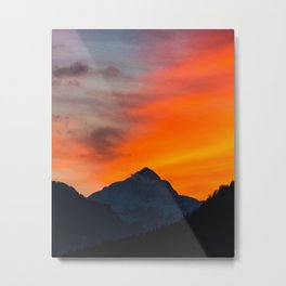 Stunning vibrant sunset behind mountain Metal Print