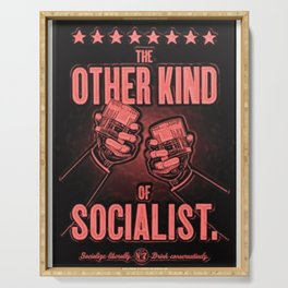 "Vintage ""The Other Kind of Socialist"" Alcoholic Lithograph Advertisement in red Serving Tray"