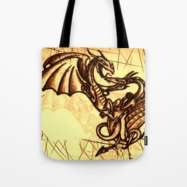 Battling Dragons - Mythical Creatures Tote Bag