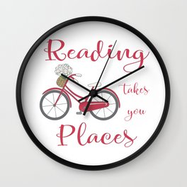 Reading Takes You Places Wall Clock