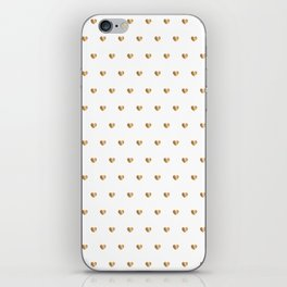 Small gold hearts pattern on white iPhone Skin