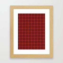 Black and Scarlet Red Diamonds Framed Art Print