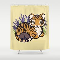 platypus Shower Curtains featuring Loafing Tiger, Hidden Platypus by Spoopy Surprise