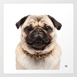 Helmut the Pug - Gold Chain Art Print