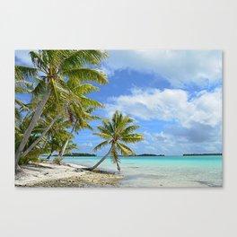 Tropical palm beach in the Pacific Canvas Print
