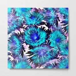 Turquoise Purple Abstract Flowers Metal Print