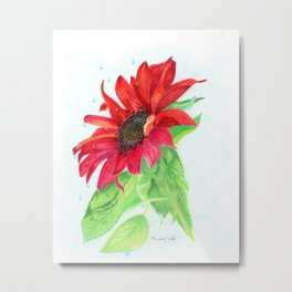 Red Sunflower Metal Print
