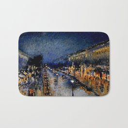The Boulevard Montmartre At Night : Camille Pissarro Bath Mat