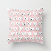 a lot of cats Throw Pillows featuring a lot of cats by galactikat