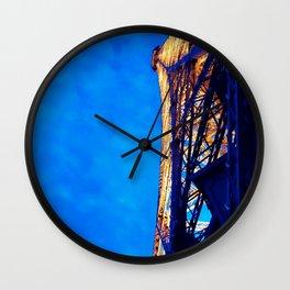 Paris France Vintage Lit Up Night Eiffel Tower Historic Landmark Monument Wall Art Print Wall Clock