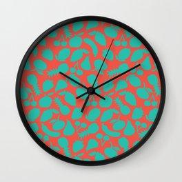Fruit Salad (coral teal) Wall Clock